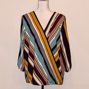 Apt.9 Cold Shoulder Surplice Stripe Blouse Size XL
